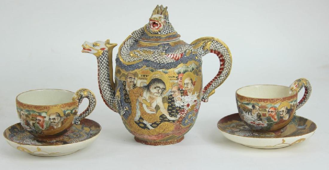ANTIQUE JAPANESE SATSUMA TEA SET - 6
