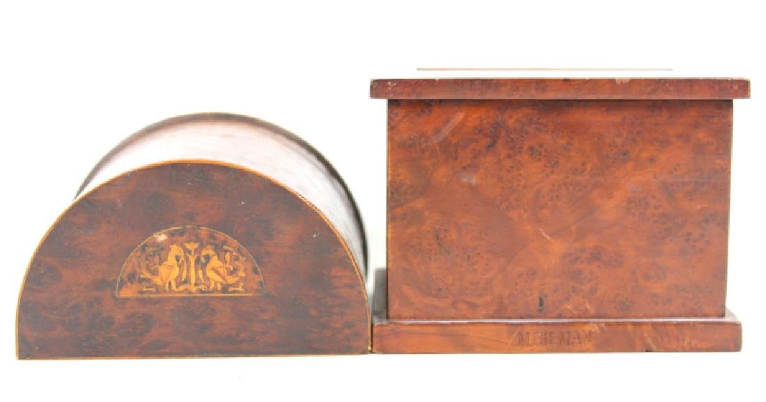 PAIR, ANTIQUE BURLWOOD BOXES