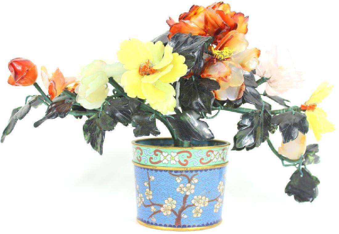VINTAGE, CLOISONNE FLOWER POT WITH JADE FLOWERS