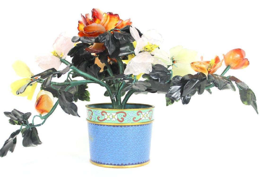 VINTAGE, CLOISONNE FLOWER POT WITH JADE FLOWERS - 2