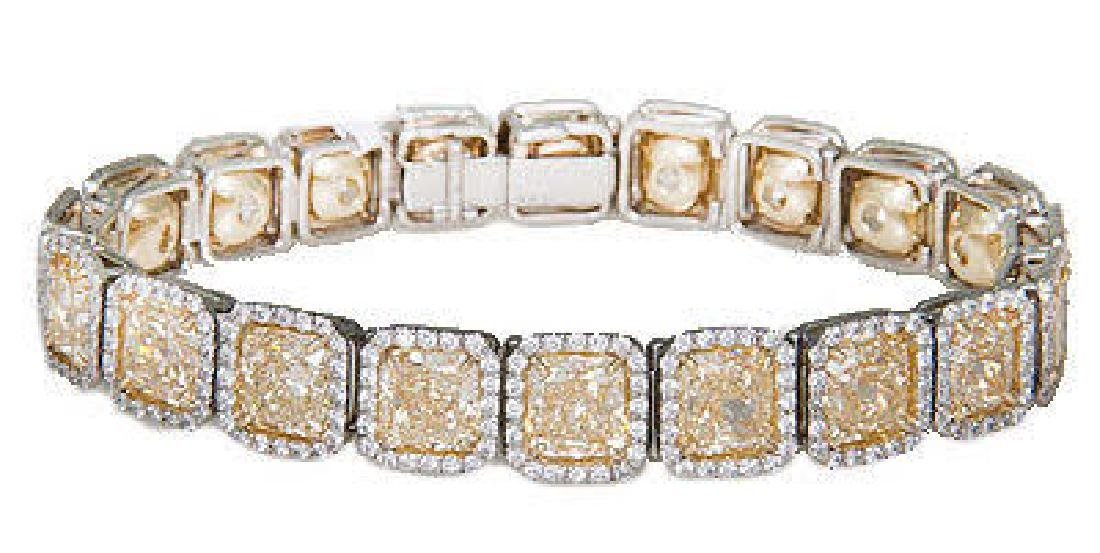 PLATINUM 13.98 CARAT FANCY YELLOW BRACELET
