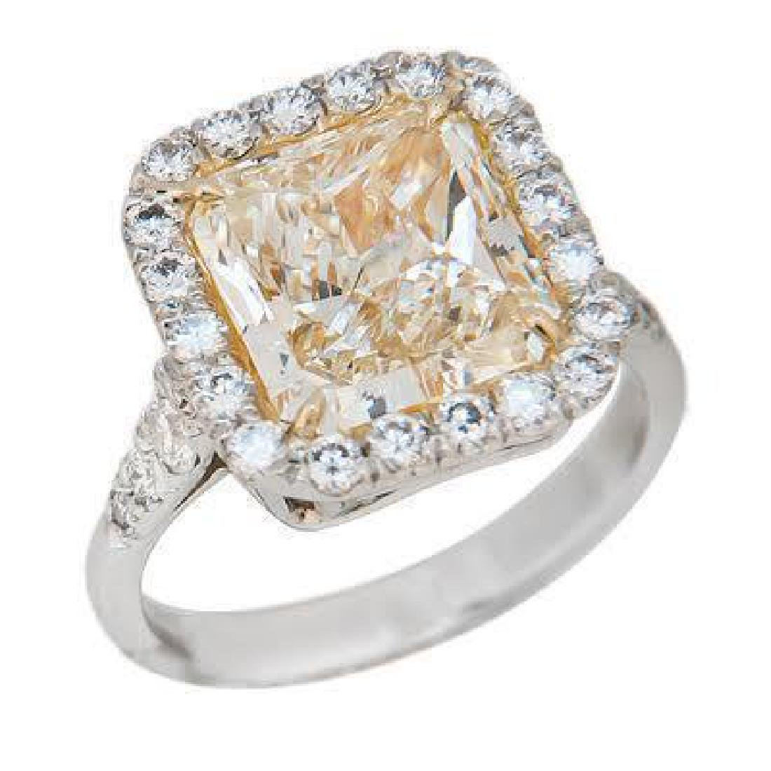4.69 TCW FANCY YELLOW RADIANT CUT ENGAGEMENT RING