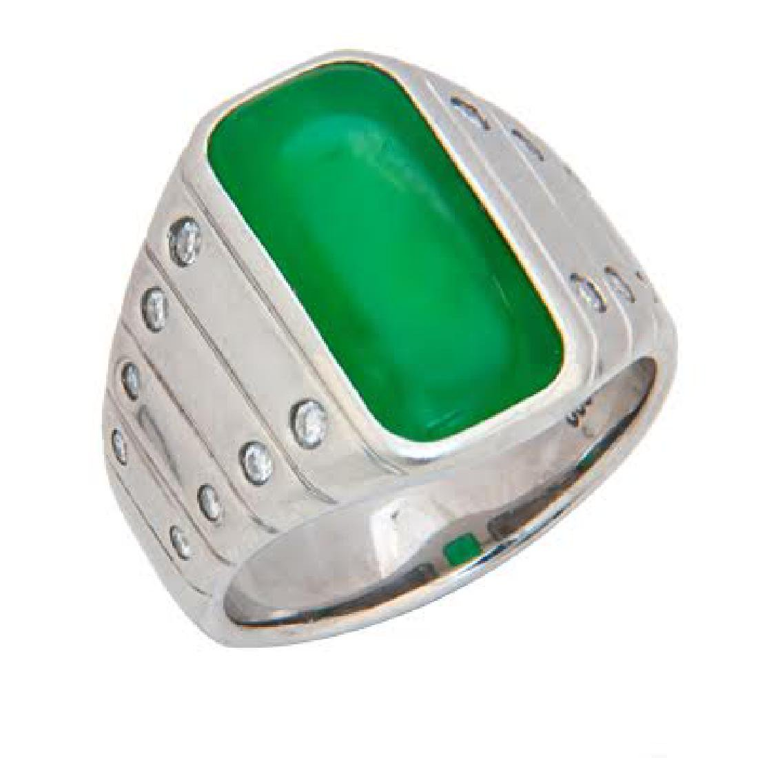 MASSIVE PLATINUM JADE & DIAMOND RING