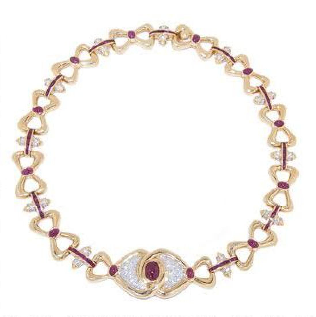 VERY FINE RUBY & DIAMOND NECKLACE