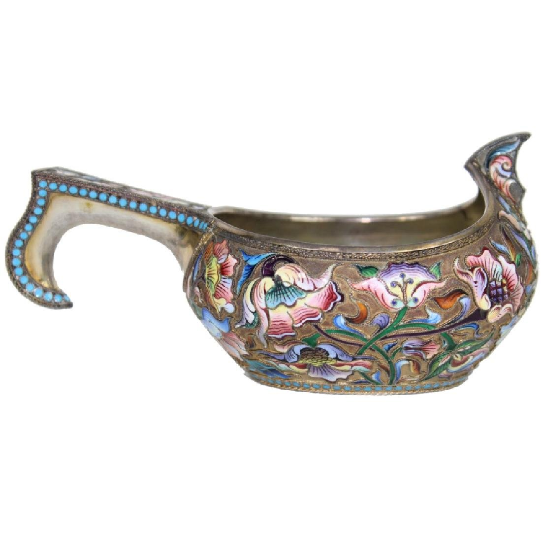 RUSSIAN SILVER GILT AND CLOISONNE ENAMEL KOVSH