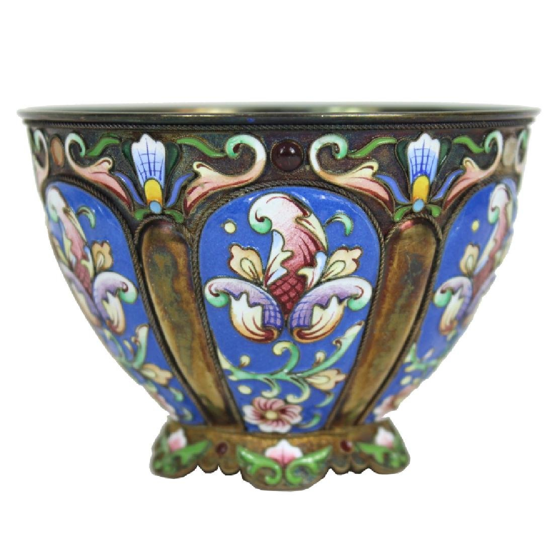 RUSSIAN SILVER GILT AND CLOISONNE ENAMEL BOWL
