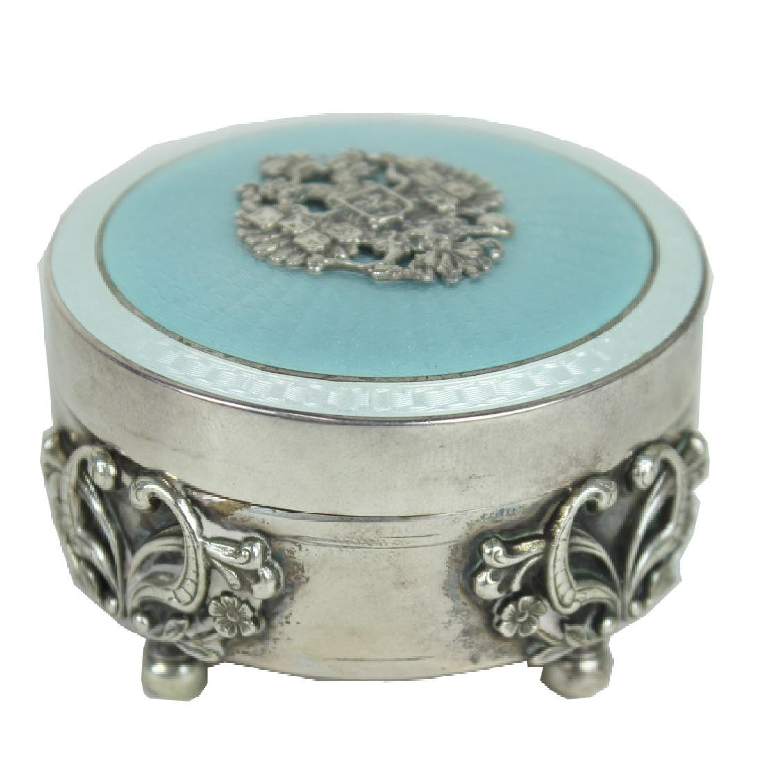 RUSSIAN SILVER ENAMEL TRINKET BOX