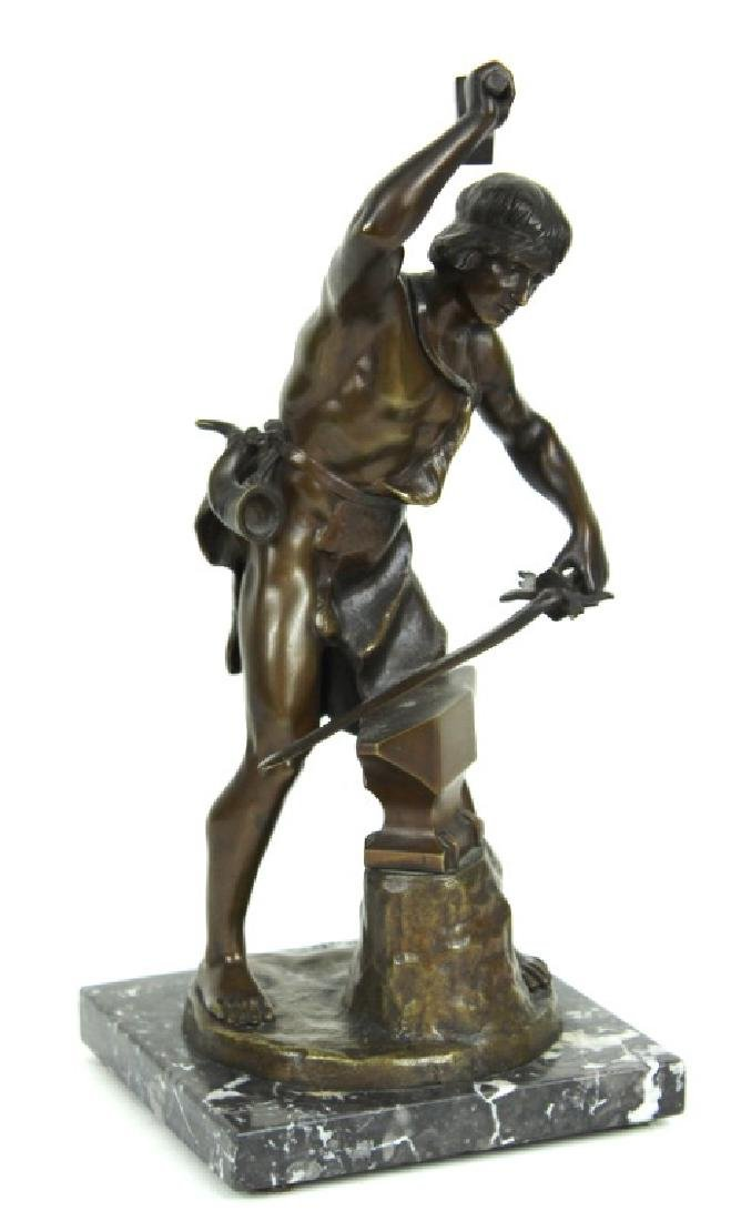 "BRONZE SCULPTURE ""BLACKSMITH"" SIGNED."