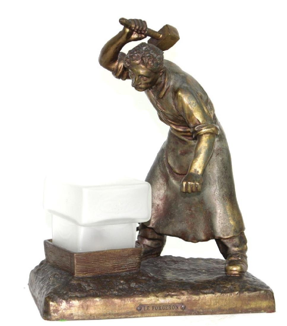 "FRENCH METAL LE FORGERON ""BLACKSMITH"" SCULPTURE"