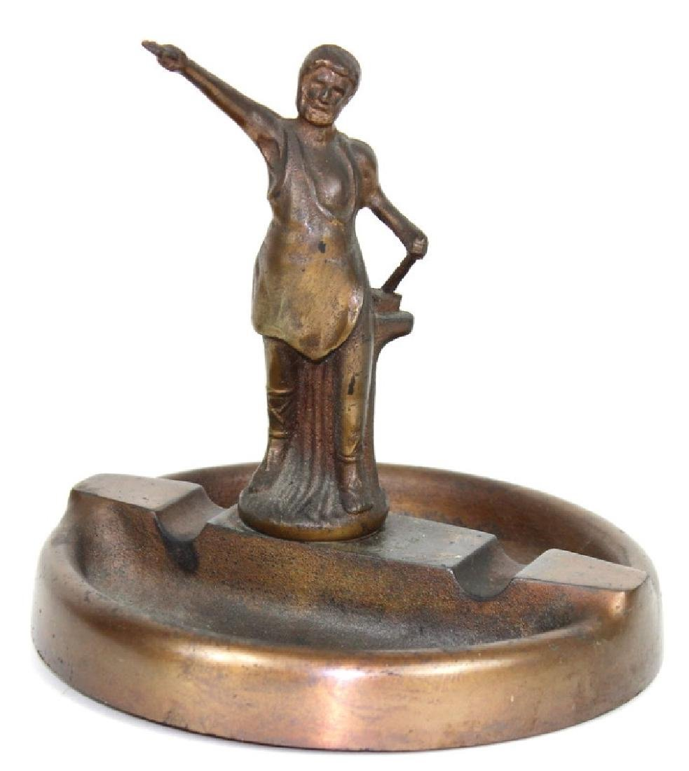 "BRONZE TRAY SCULPTURE ""BLACKSMITH"""