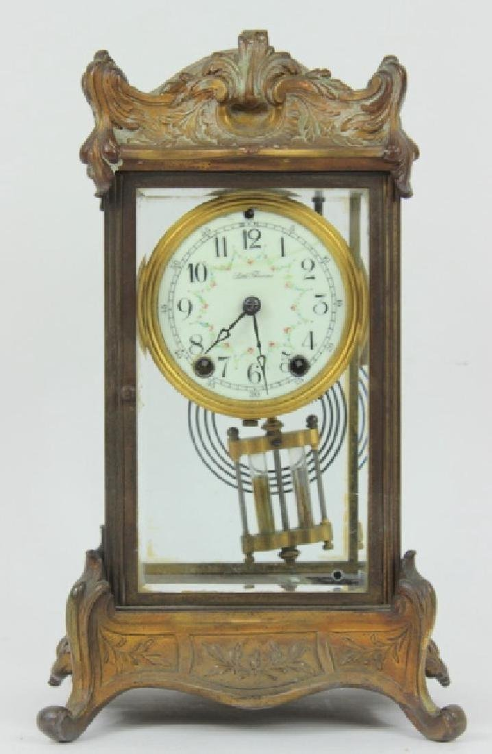 ANTIQUE, BRASS & GLASS SETH THOMAS CLOCK