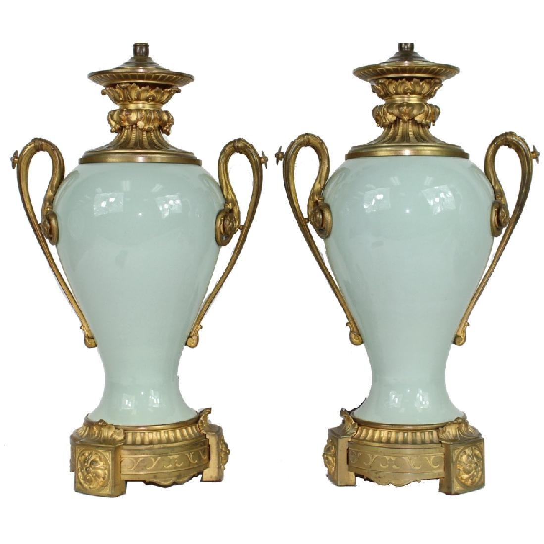 PAIR CHINESE CELADON PORCELAIN LAMP FRENCH BRONZE