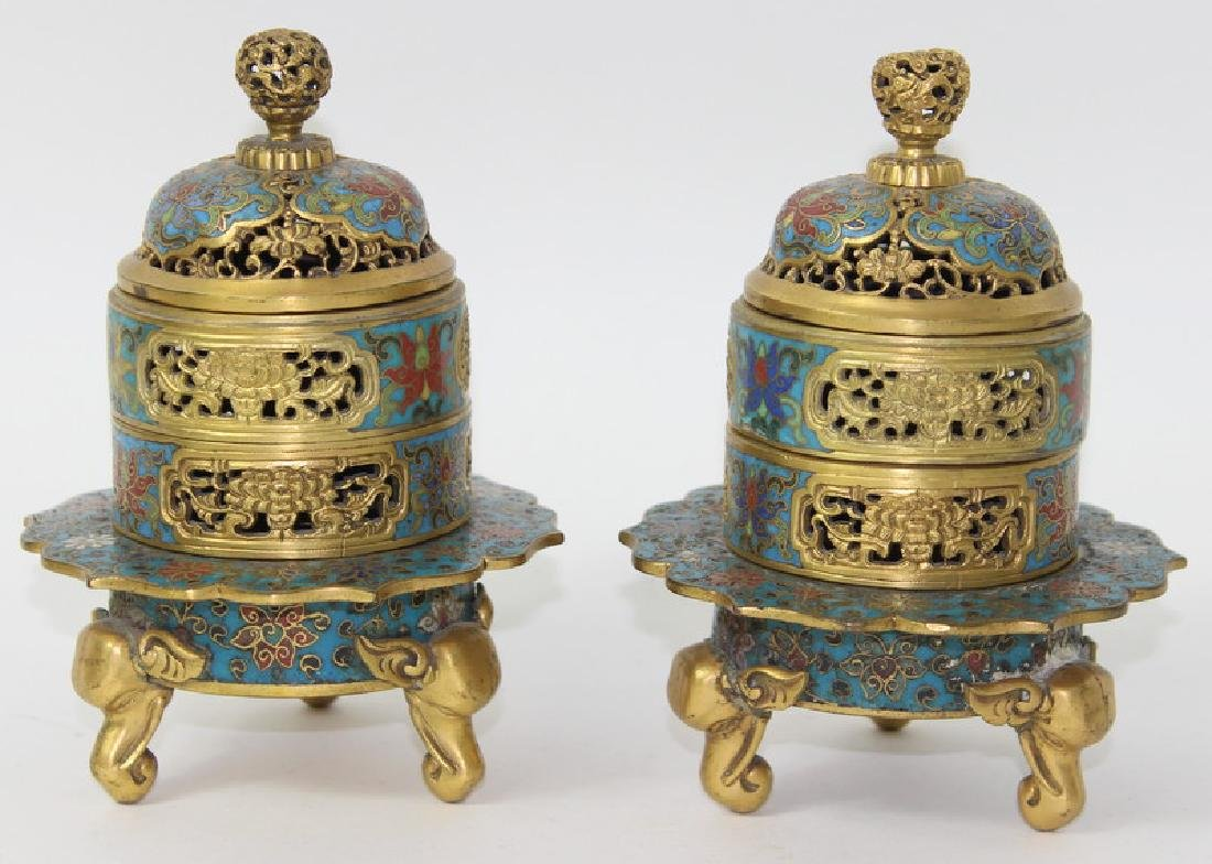 CHINESE GILT BRONZE CLOISONNE INCENSE BURNER