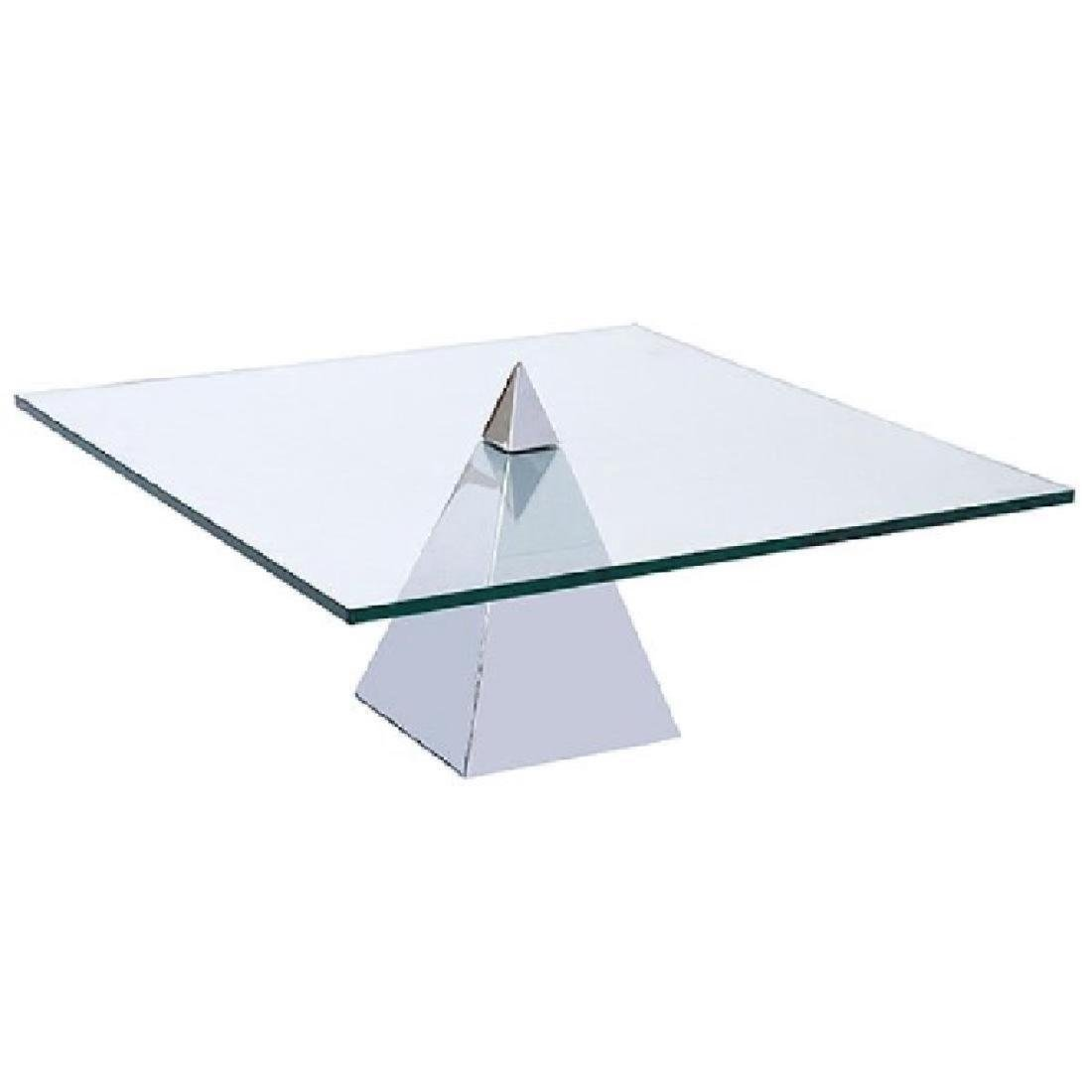 CHROME PYRAMID BASE, COFFEE TABLE, 1970, UNSIGNED