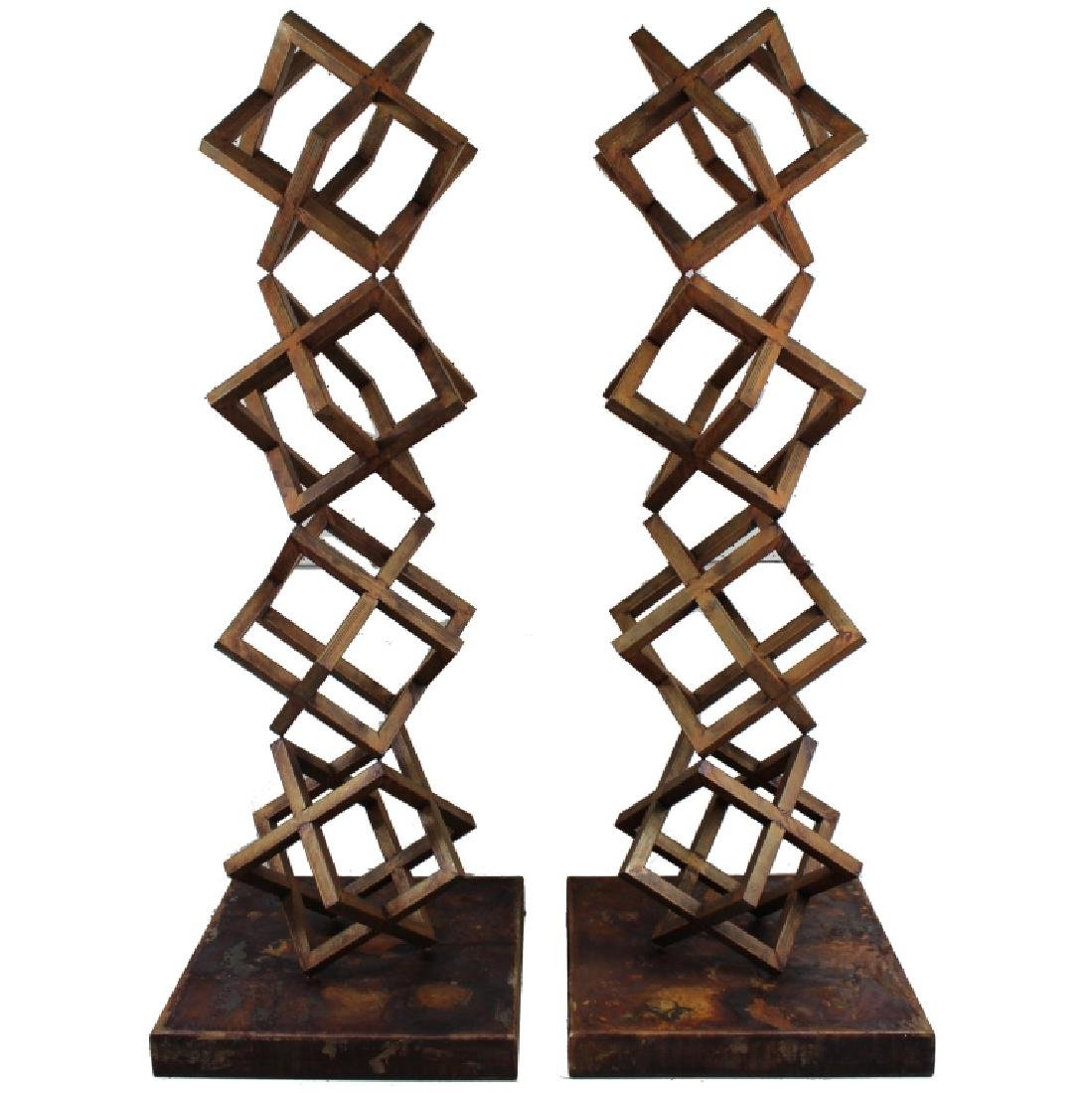(2) PAIR MONUMENTAL STACKED CUBE FORM SCULPTURE