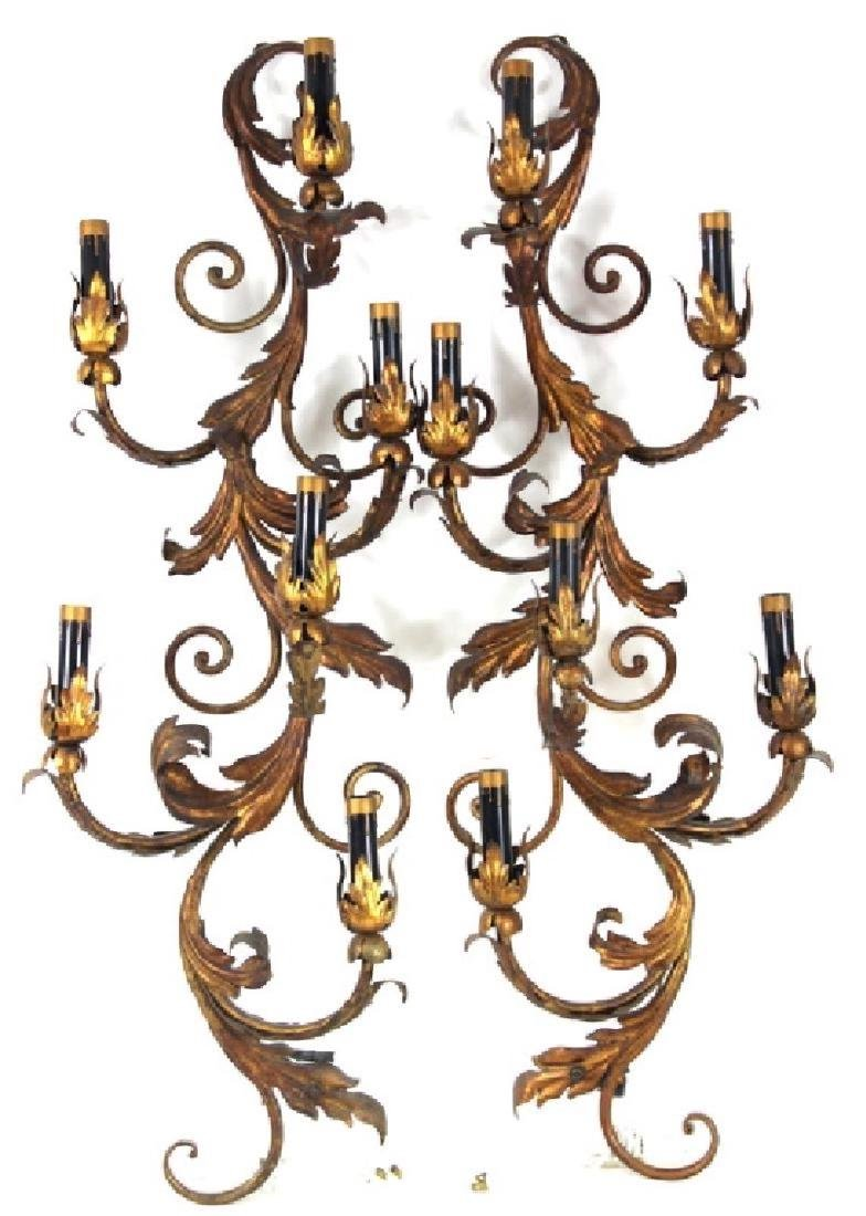 LARGE PAIR FRENCH GILT PAINTED WALL SCONCES