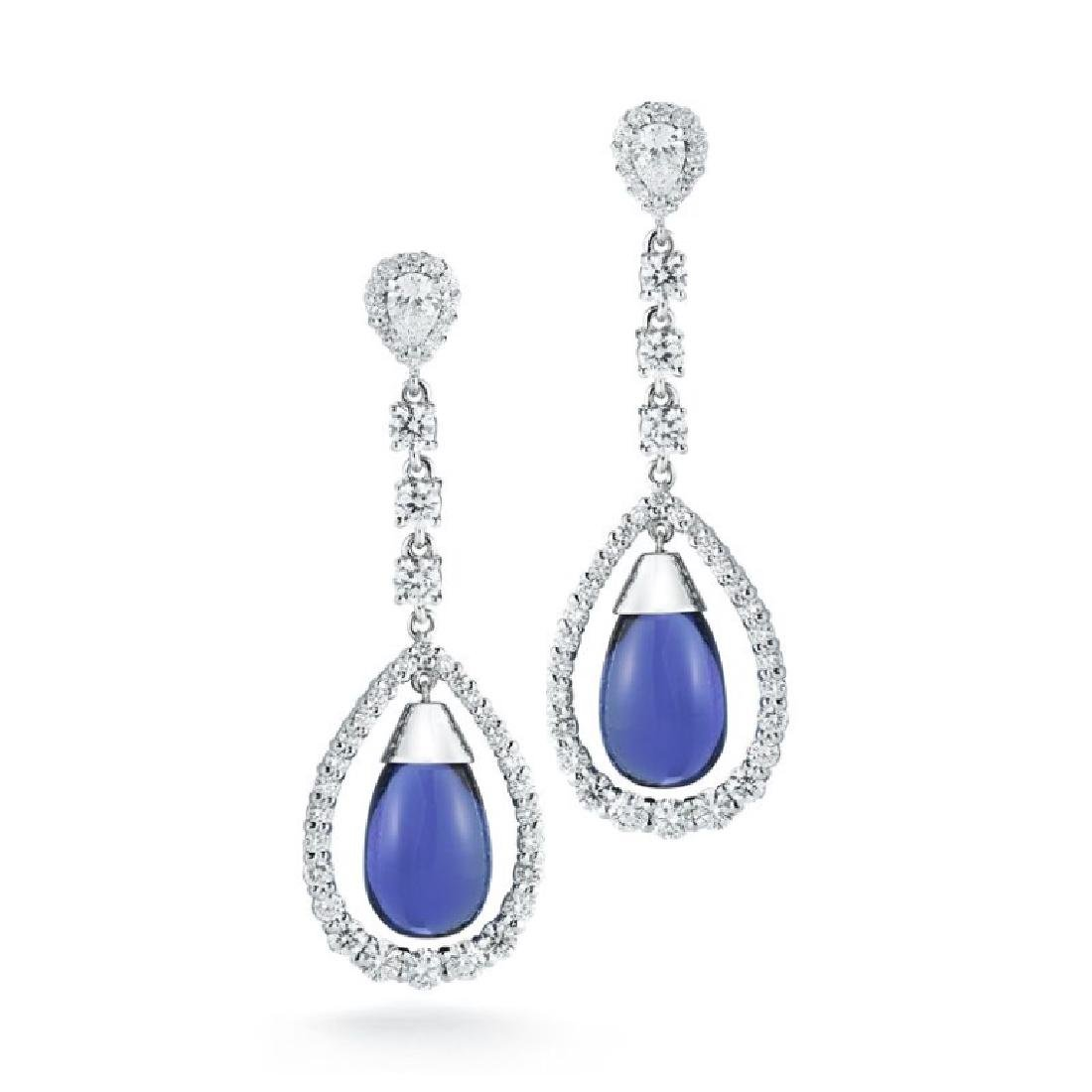 C.DUNAIGRE TAZANITE DIAMOND DROP EARRING