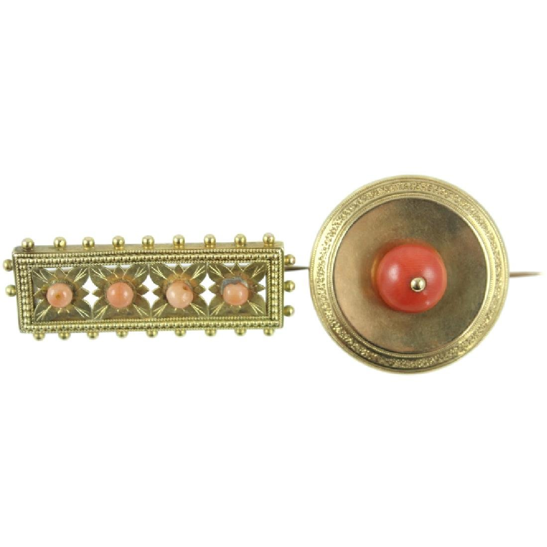 (2) TWO VICTORIAN CORAL PENDANT BROOCH