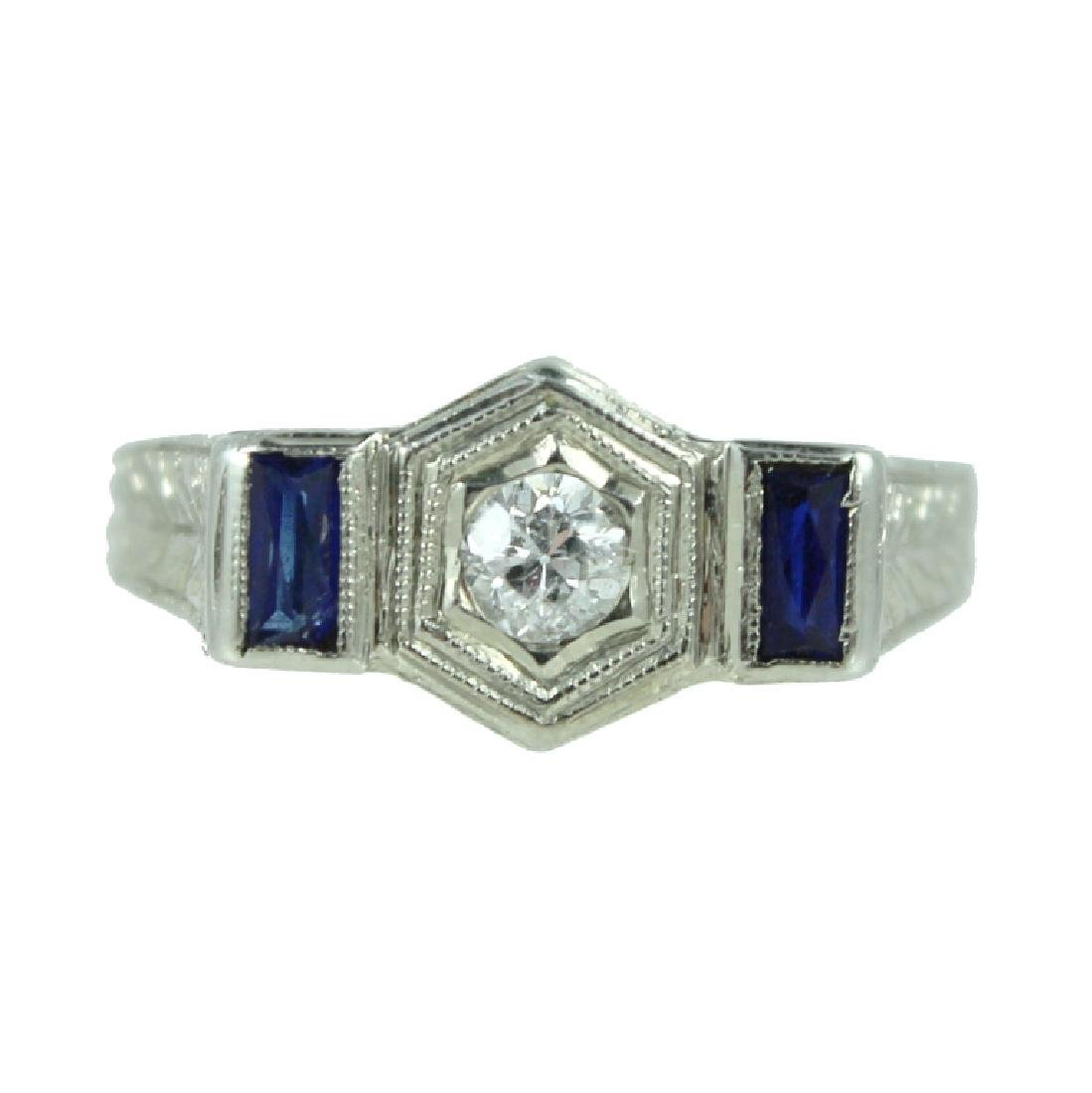 ART DECO 18K WHITE DIAMOND & SAPPHIRE RING