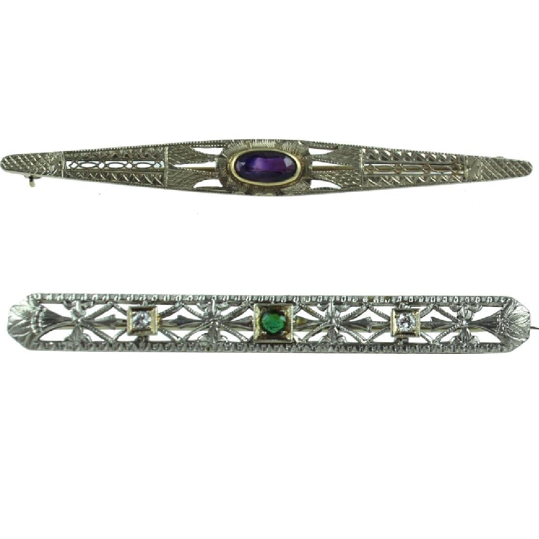(2) ART DECO 14K FILIGREE BROOCH