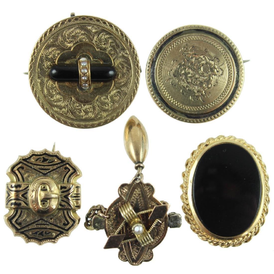 (5) FIVE VICTORIAN PINS / BROOCH 14K GOLD