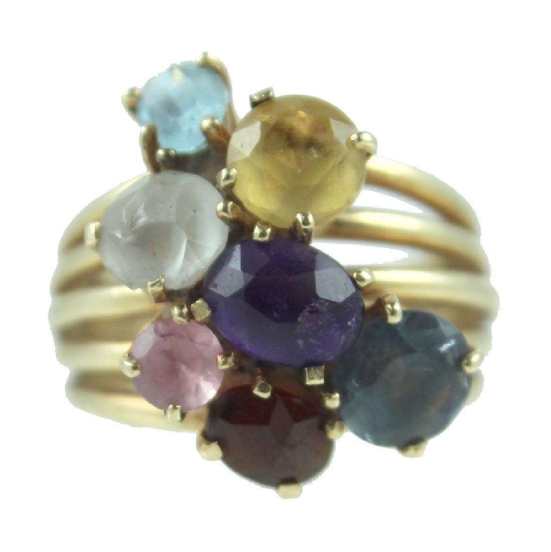CUTE 14 KARAT COLORED STONE RING