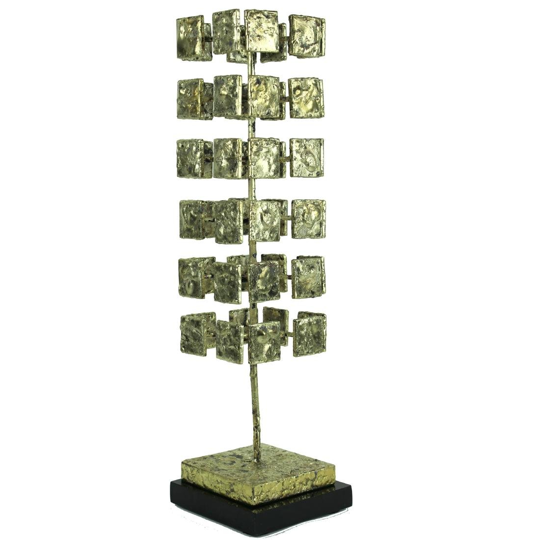 MODERN, CUBE, 3-D GILT BRONZE SCULPTURE