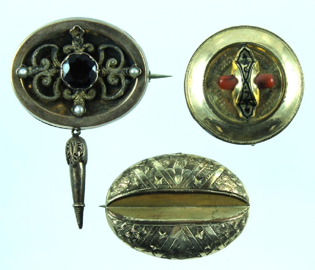 (3) THREE VICTORIAN 10K BROOCH PENDANTS