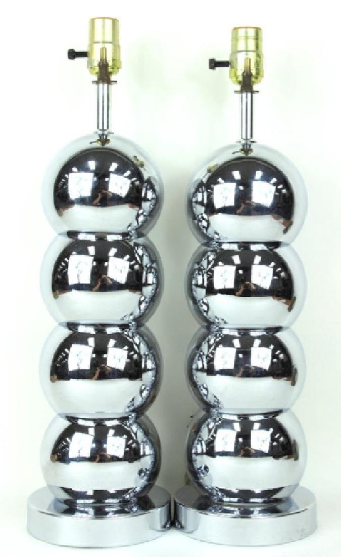 PAIR, CHROME, CONTEMPORARY, MODERN BALL LAMPS