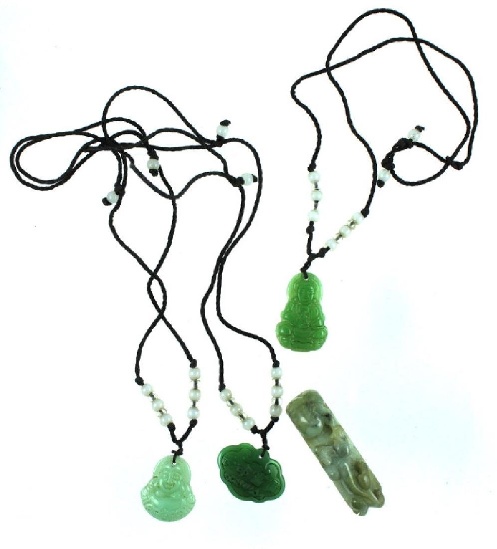 (4) FOUR CHINESE CARVED JADE NECKLACE.