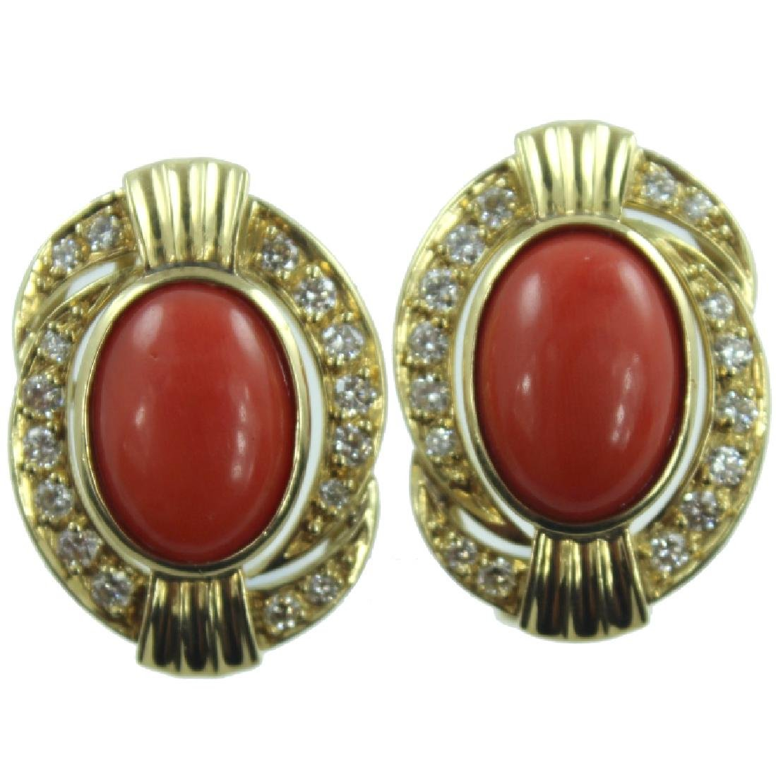 18K YG CORAL AND DIAMOND EARRING