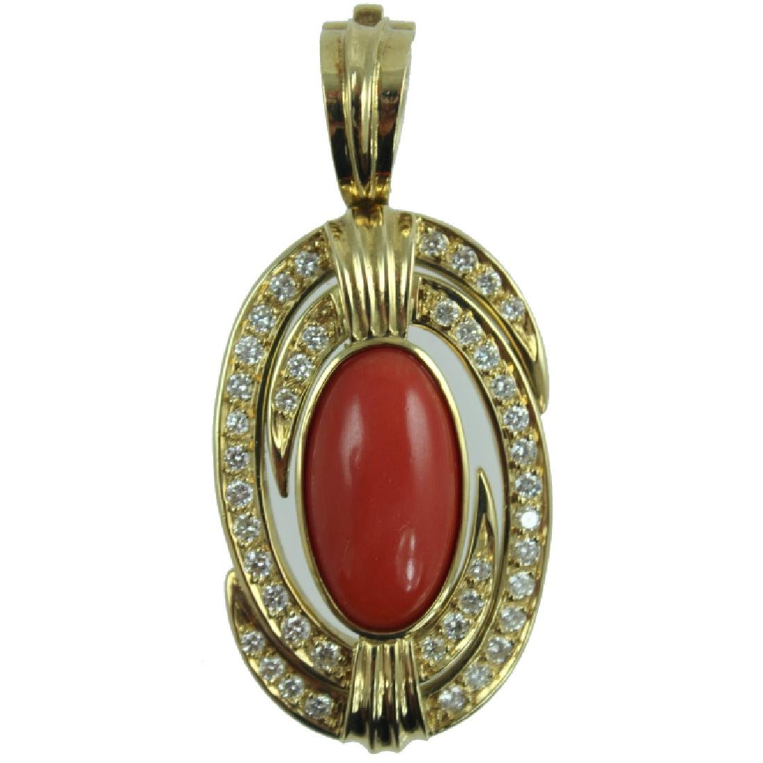 18K CORAL AND DIAMOND PENDANT