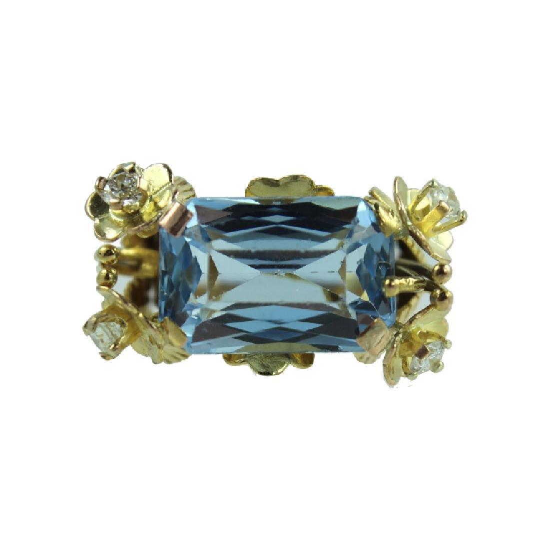 ESTATE 18K BLUE TOPAZ & DIAMOND RING