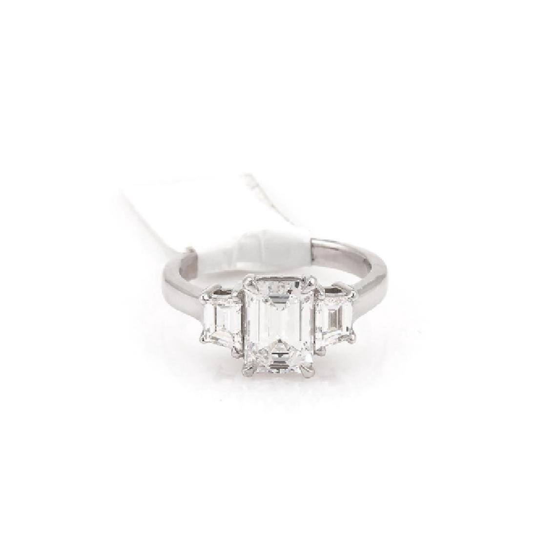 GIA CERTIFIED 2.74 TCW EMERALD CUT ENGAGEMENT RING