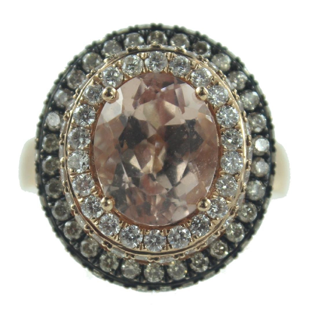 14K MORGANITE & DIAMOND RING