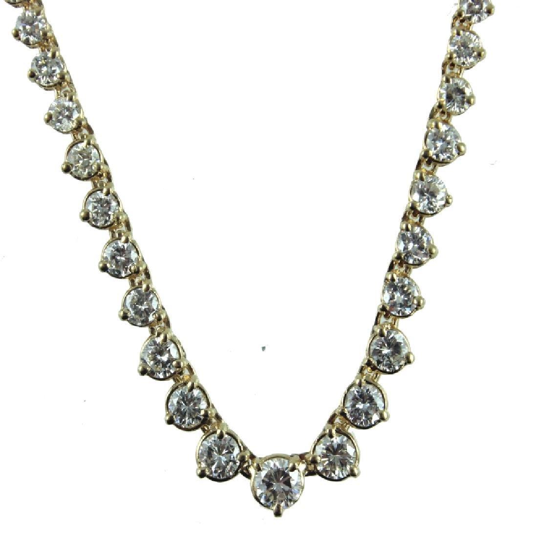 14K 12.00 CARAT DIAMOND TENNIS NECKLACE