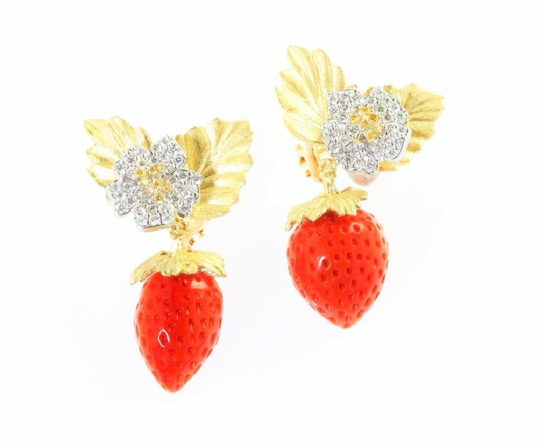 STRAWBERRY CORAL DIAMOND GOLD EARRINGS