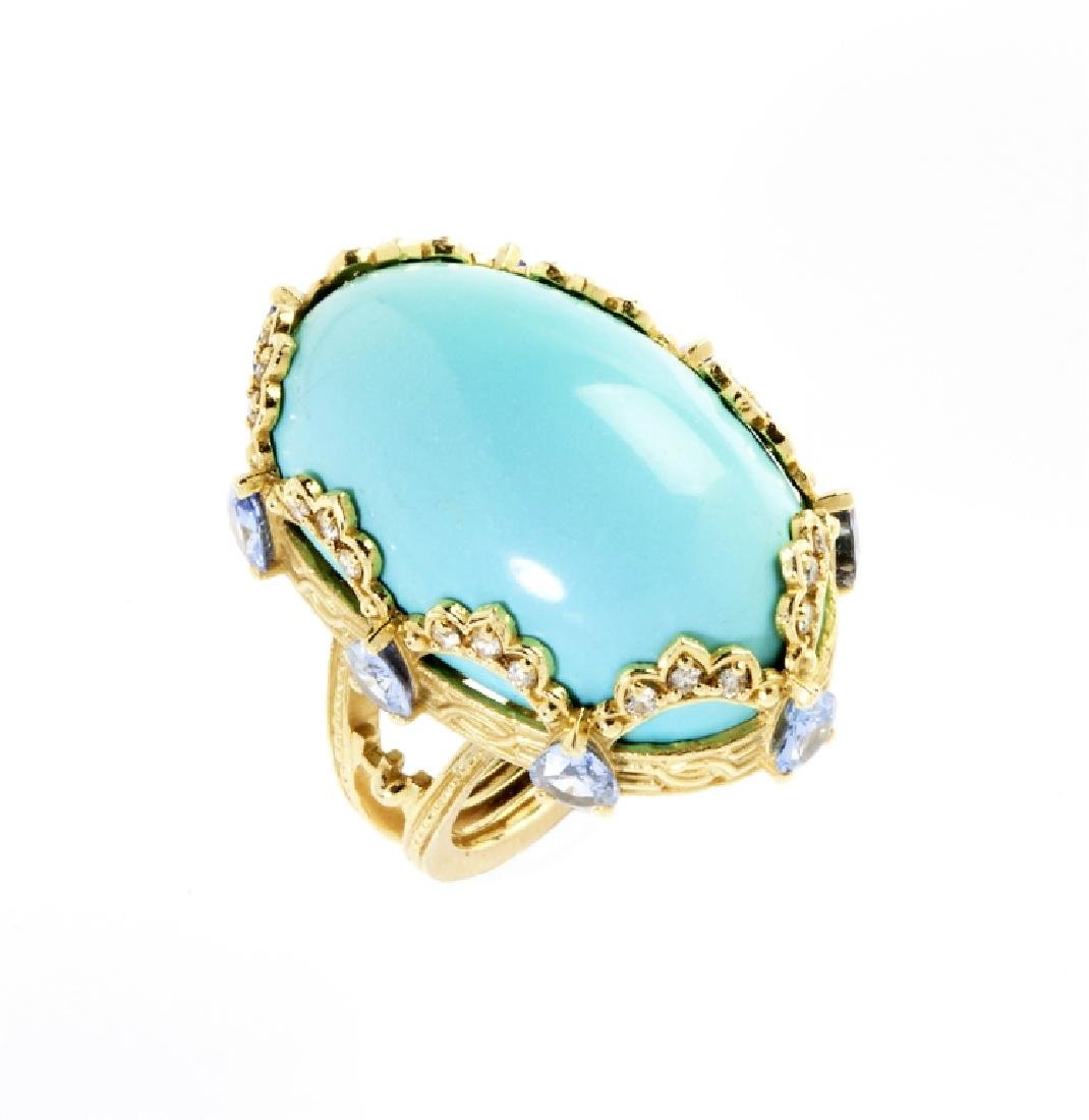PERSIAN TURQUOISE BLUE SAPPHIRE GOLD RING