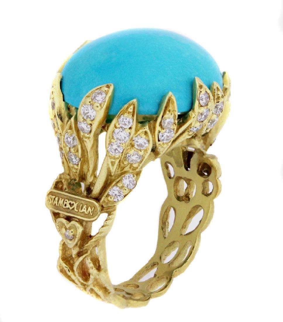 SLEEPING BEAUTY TURQUOISE DIAMOND GOLD RING