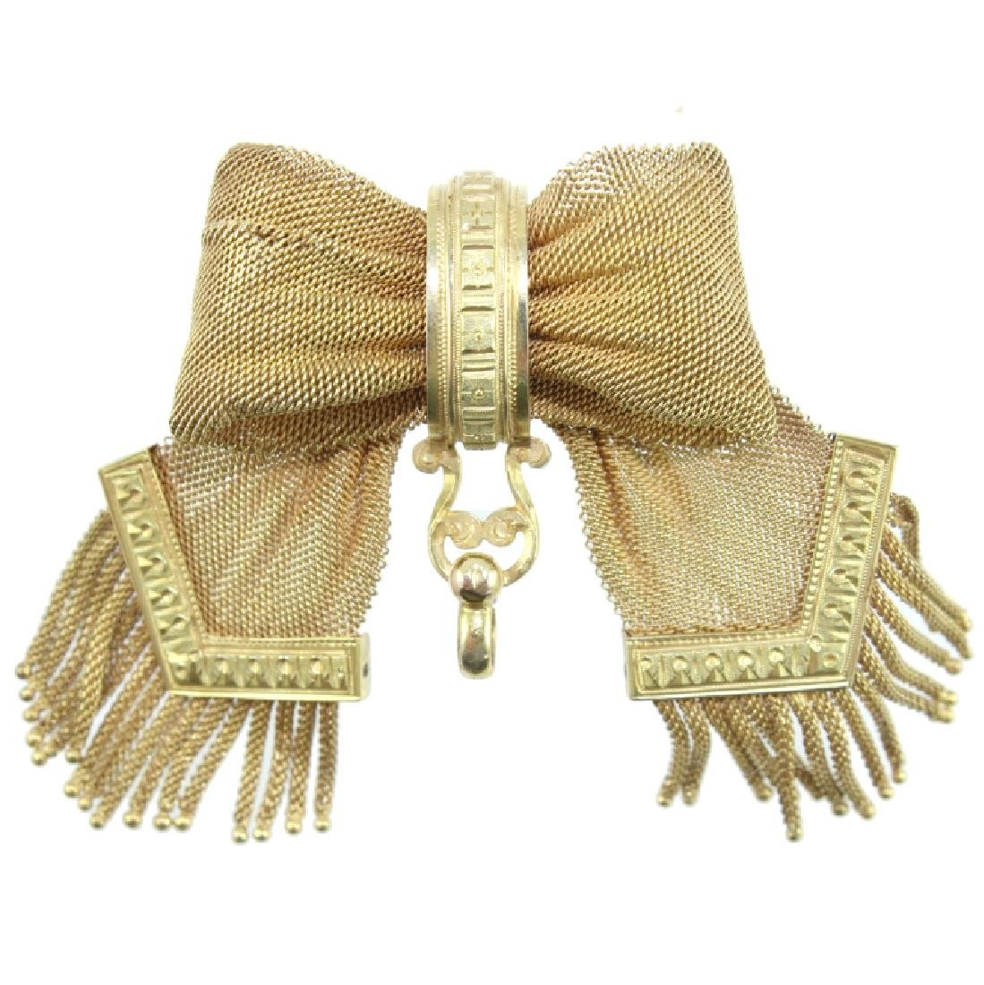 VICTORIAN 10K LADIES RIBBON BROOCH