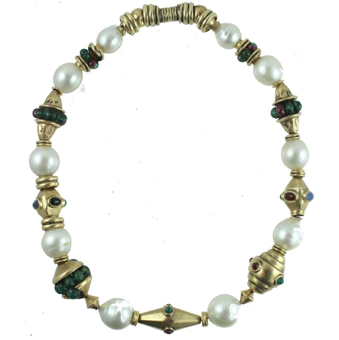14K PEARL & COLORED STONE NECKLACE