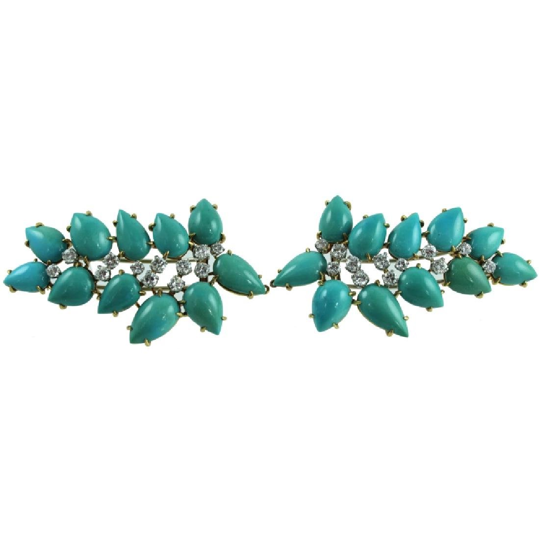 PAIR 18K TURQUOISE & DIAMOND HAIR CLIPS.