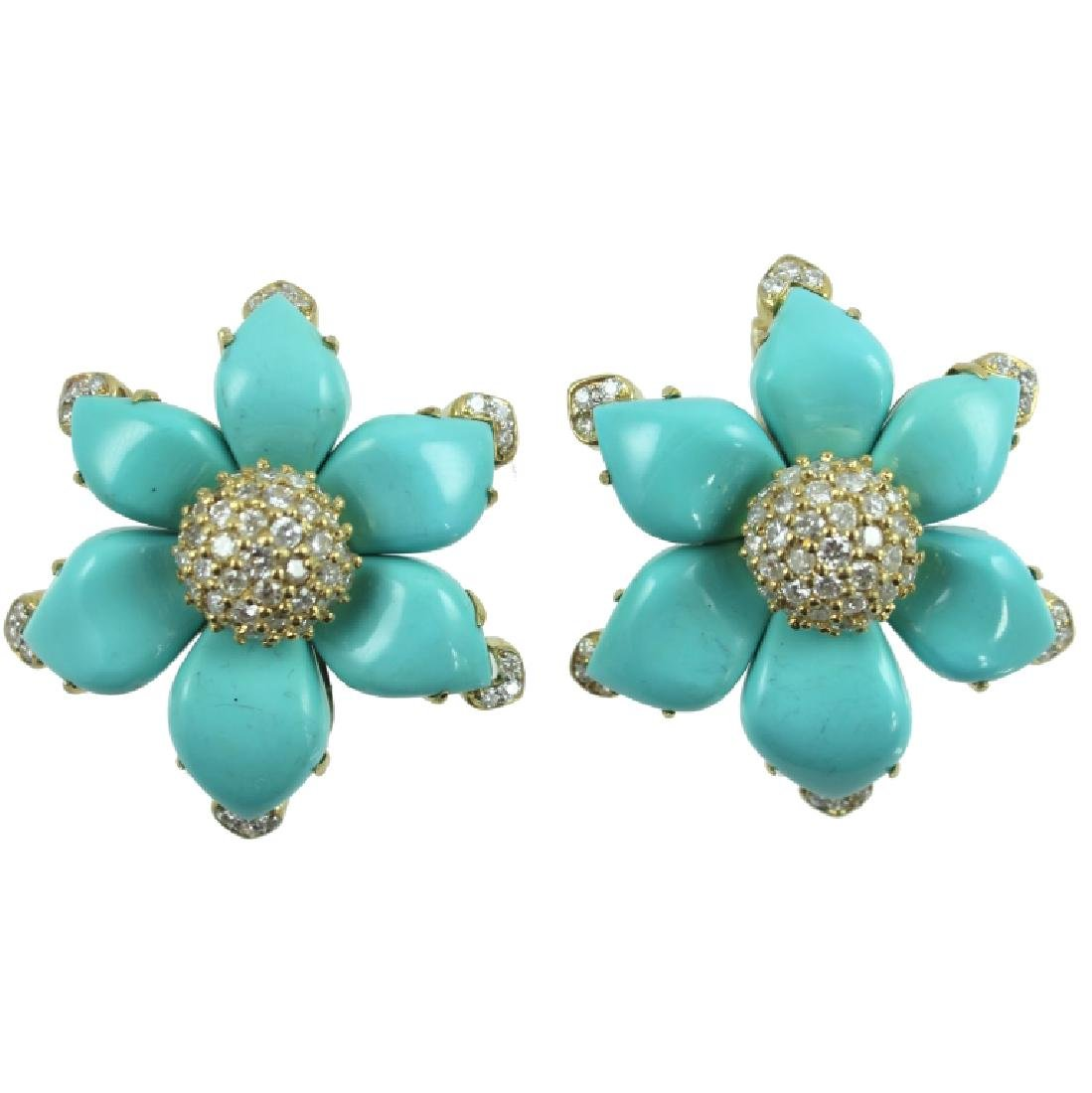 PAIR 18K TURQUOISE & DIAMOND EARRINGS