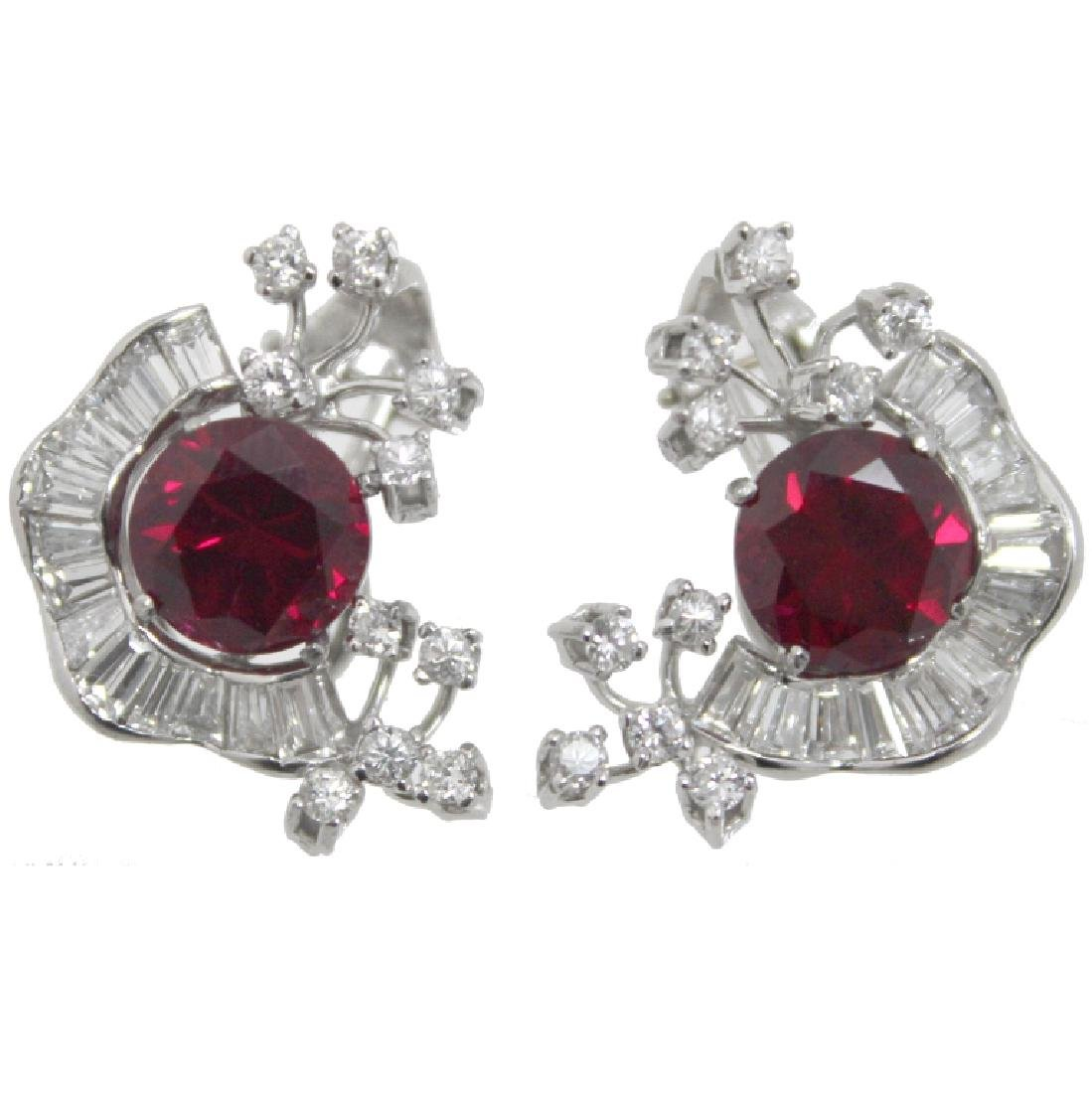PAIR OF SYNTHETIC RUBY & DIAMOND EARRINGS