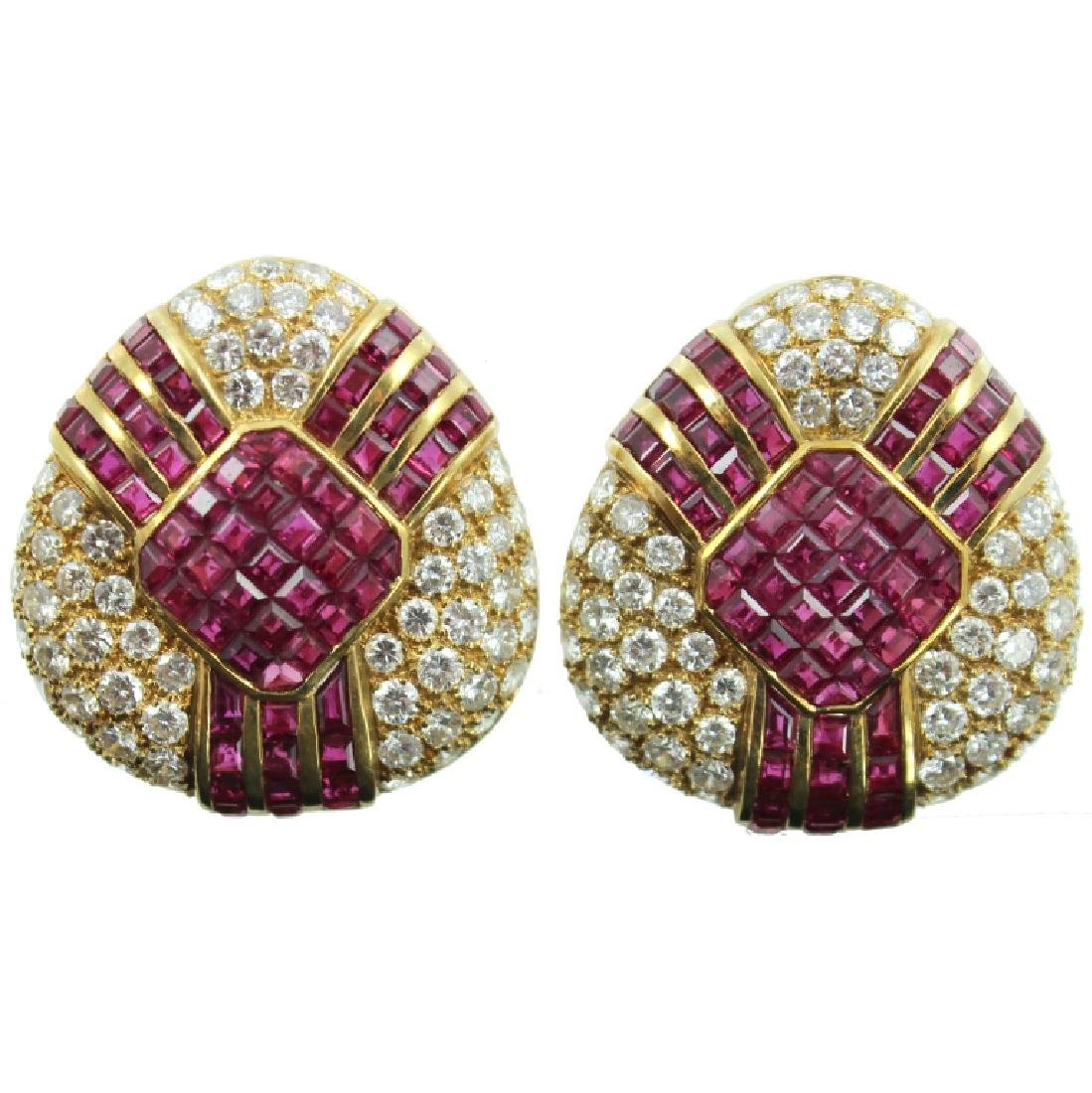 18K DIAMOND & RUBY EARRINGS