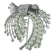 LADIES 18K DIAMOND  PEARL BROOCH PENDANT
