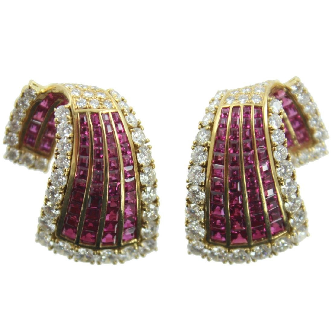 18K RUBY & DIAMOND EARRING