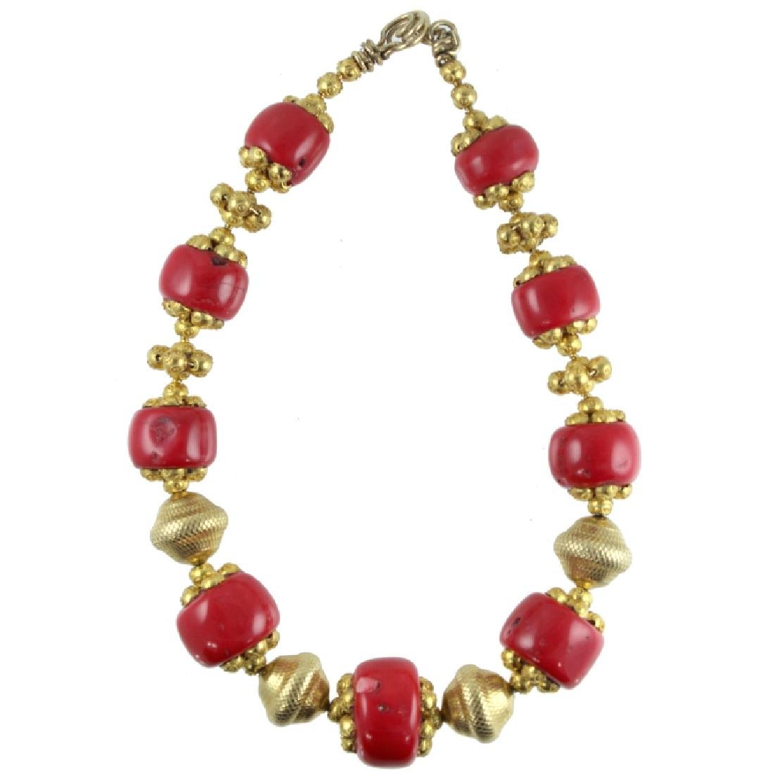 VERY LARGE 18K CORAL NECKLACE