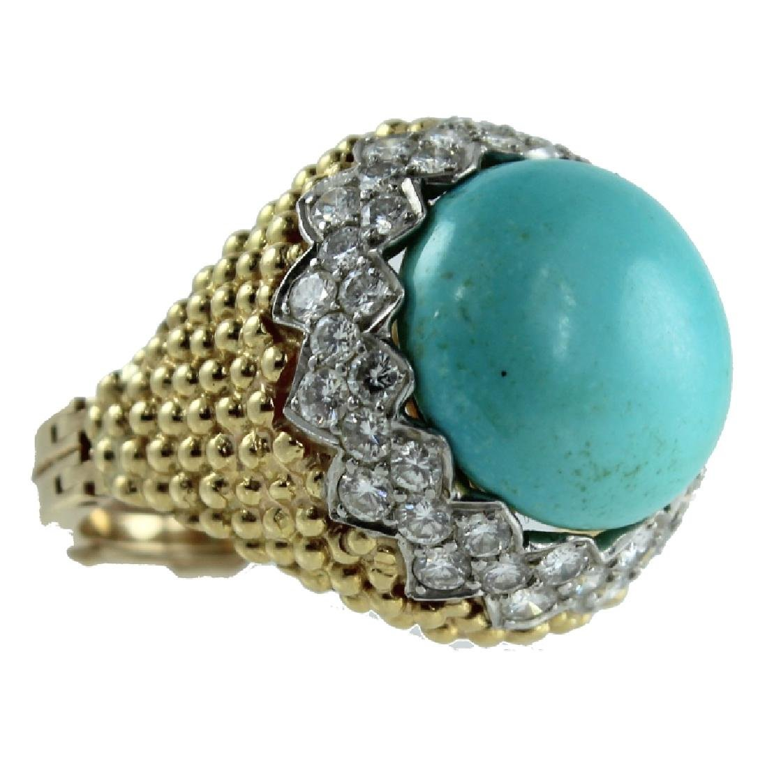 18K TURQUOISE AND DIAMOND RING