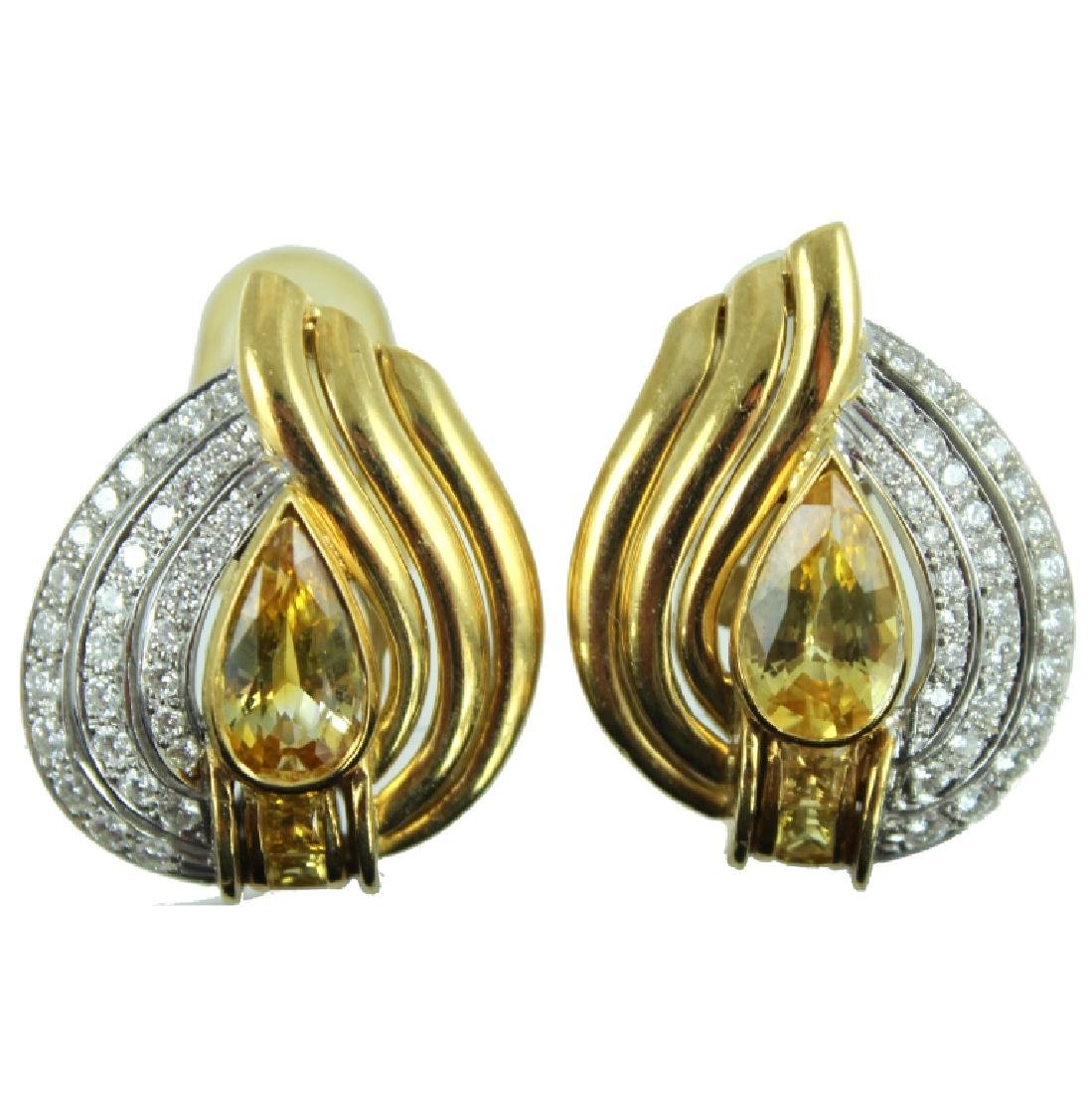 18K TOPAZ & DIAMOND EARRINGS